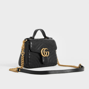 GUCCI GG Marmont Mini Top Handle Bag in Quilted Black Leather