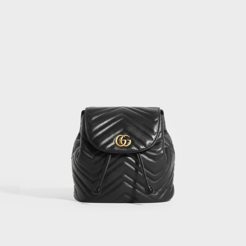 GUCCI GG Marmont Quilted Leather Mini Backpack in Black
