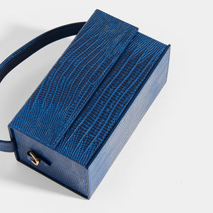 L'AFSHAR Ida Embossed Lizard Top Handle in Navy