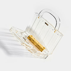 L'AFSHAR Lucite Pagoda Top Handle Clutch