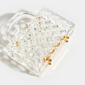 L'AFSHAR Lucite Tilda Top Handle Clutch