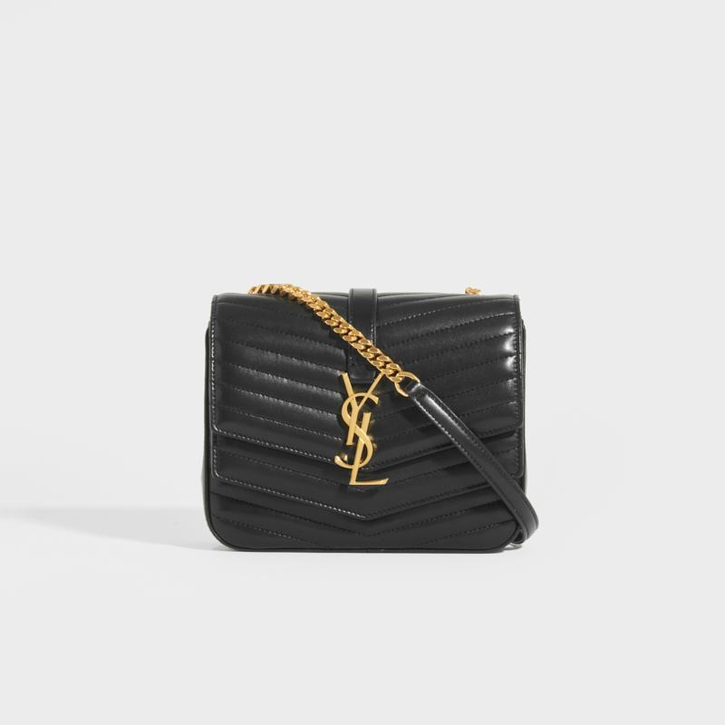 SAINT LAURENT Sulpice Small In Matelassé Lambskin in Black with Gold Hardware