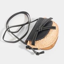 Load image into Gallery viewer, Top of LOEWE Gate Crossbody Mini in Black leather flap and strap with Raffia