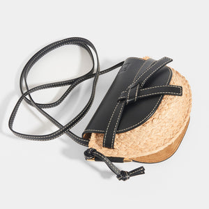 Top of LOEWE Gate Crossbody Mini in Black leather flap and strap with Raffia