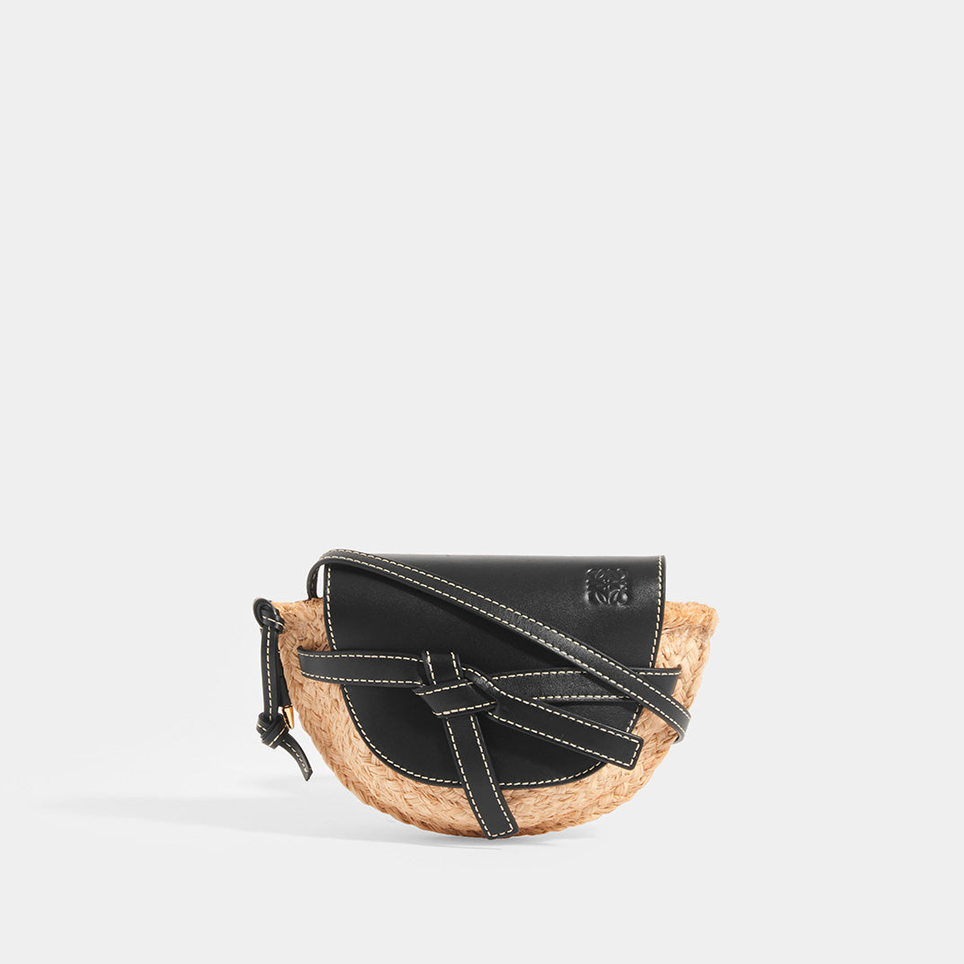 LOEWE Gate Mini in Black leather flap and strap with Raffia