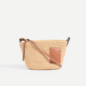 LOEWE X Paula's Ibiza Raffia and leather crossbody front