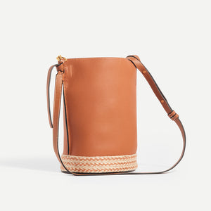 LOEWE X Paula's Ibiza Gate Bucket bag in Tan - Side View