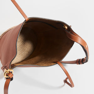 LOEWE X Paula's Ibiza Gate Bucket bag in Tan - Interior View