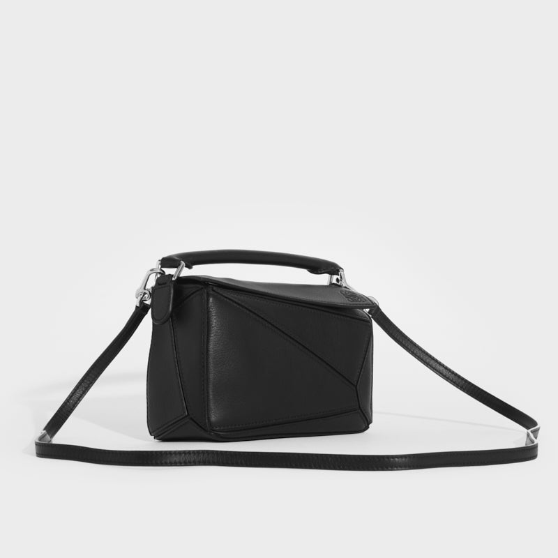 LOEWE Puzzle Mini Leather Shoulder Bag in Black