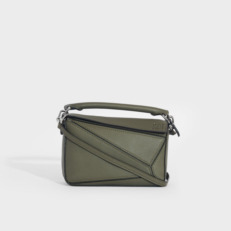 LOEWE Puzzle Mini Leather Shoulder Bag in Green