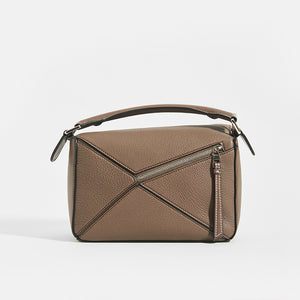 LOEWE Puzzle Small Grained Leather Bag in Dark Taupe