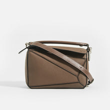 Load image into Gallery viewer, LOEWE Puzzle Small Grained Leather Bag in Dark Taupe With Top Handle and Crossbody Strap