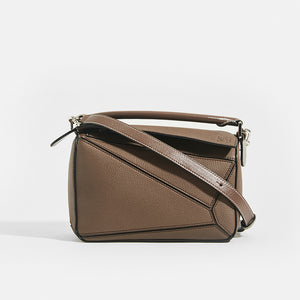LOEWE Puzzle Small Grained Leather Bag in Dark Taupe With Top Handle and Crossbody Strap