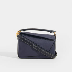 LOEWE Puzzle Small Grained Leather Bag in Navy