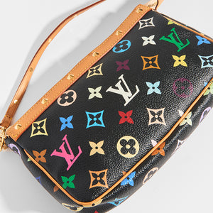 Close up of LOUIS VUITTON x Takashi Murakami Pochette in Black Multi