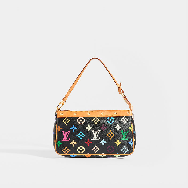 Front of LOUIS VUITTON x Takashi Murakami Pochette in Black Multi
