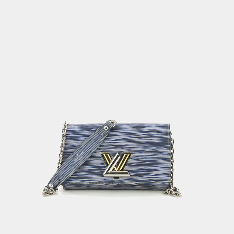 LOUIS VUITTON Twist Chain Wallet in blue and white