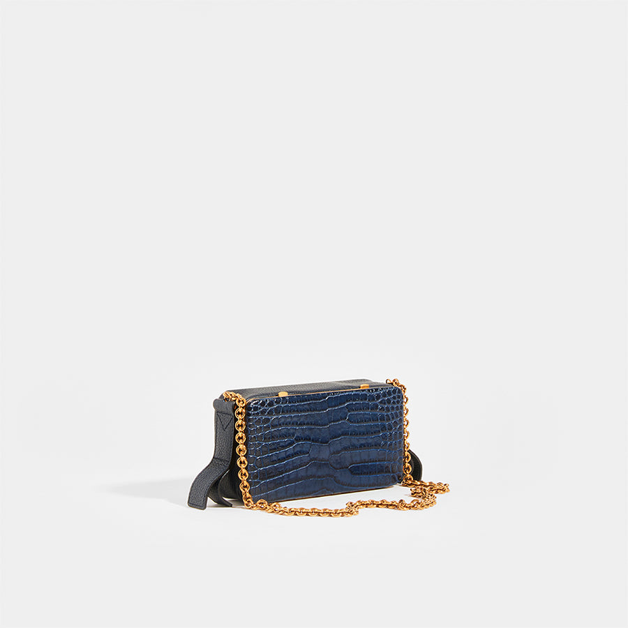 LUTZ MORRIS Elise Small Shoulder Chain Bag in Navy Croc Embossed Leather