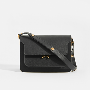 MARNI Medium Trunk in Black Saffiano Leather