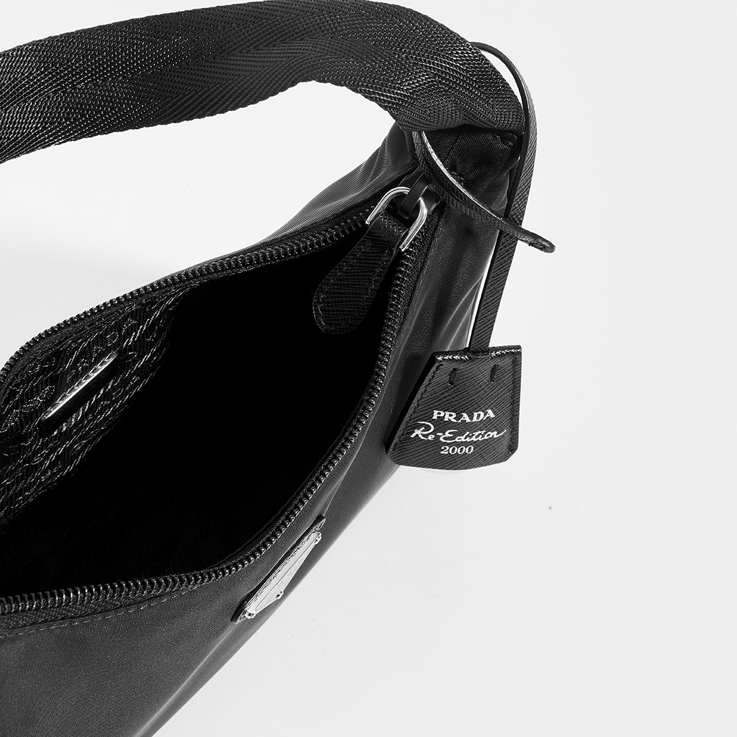 Inside View of PRADA Hobo Bag in Black Nylon