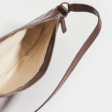 Load image into Gallery viewer, Inside of BY FAR Rachel Croc Embossed Bag in Brown Leather (Nutella)