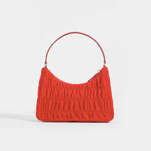 Load image into Gallery viewer, PRADA Ruched Hobo Bag in Red Nylon - Rear View