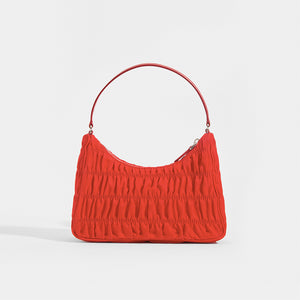 PRADA Ruched Hobo Bag in Red Nylon - Rear View