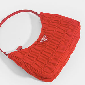 PRADA Ruched Hobo Bag in Red Nylon - Close Up