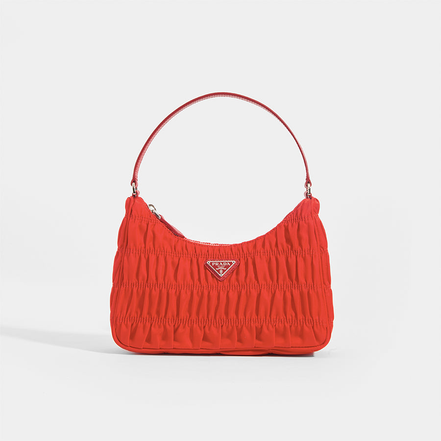 Image of PRADA Ruched Hobo Bag in Red Nylon