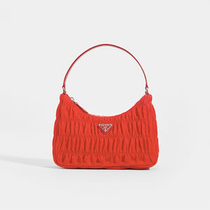 PRADA Ruched Hobo Bag in Red Nylon - Front View