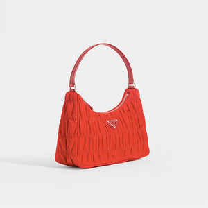 PRADA Ruched Hobo Bag in Red Nylon - Side View