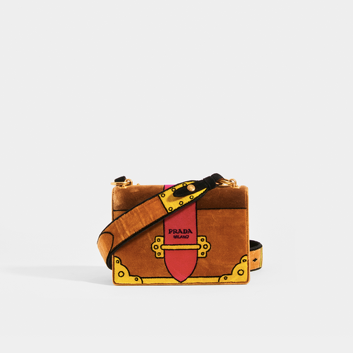 PRADA Cahier Cross Body Bag in Brown Velvet