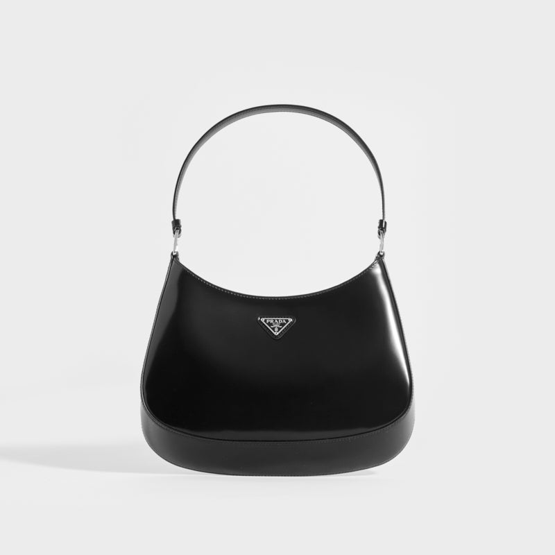 PRADA Cleo Brushed Leather Shoulder Bag in Black