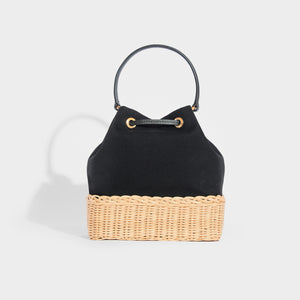 PRADA Canvas and Wicker Drawstring Bucket Bag