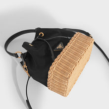 Load image into Gallery viewer, PRADA Canvas and Wicker Drawstring Bucket Bag