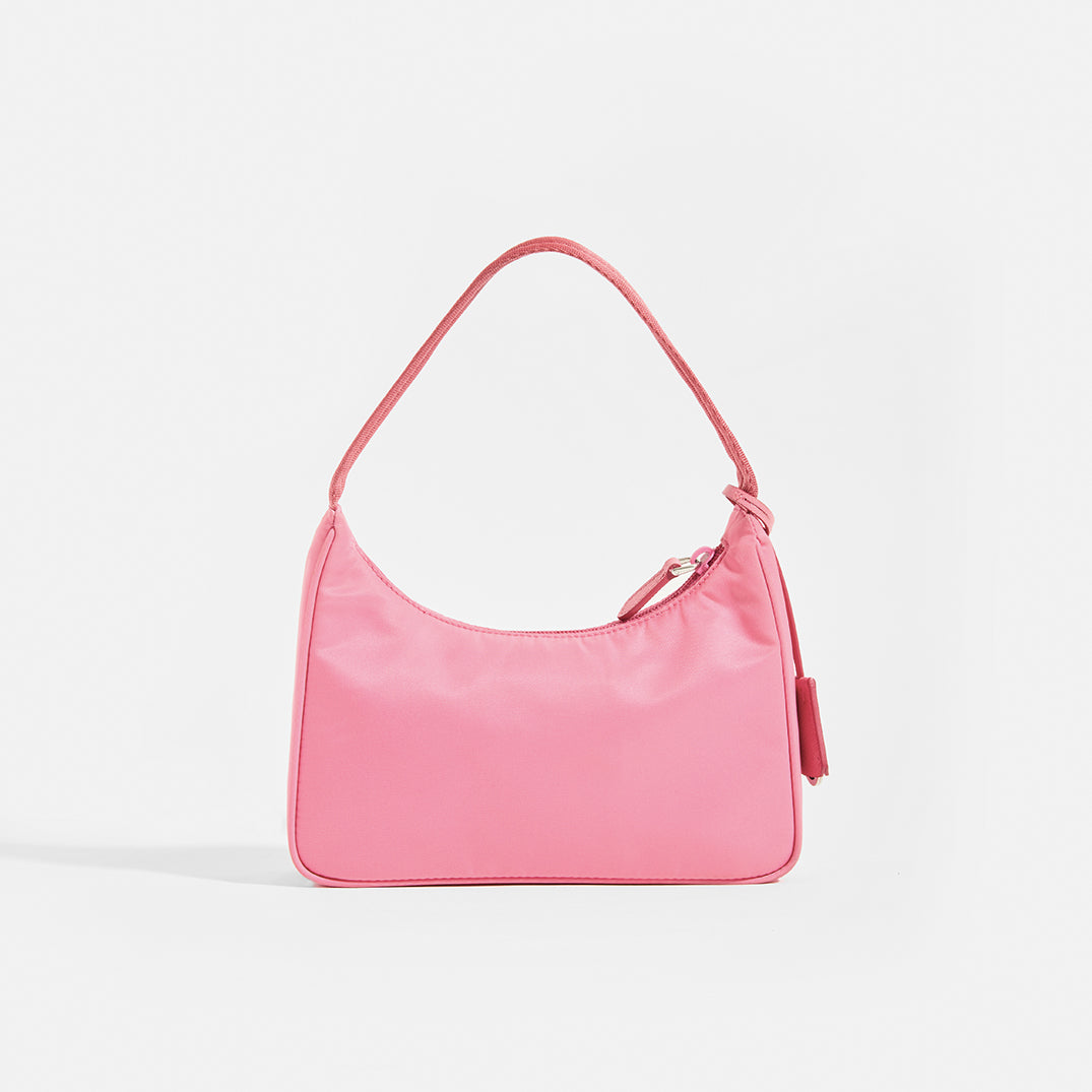 PRADA Hobo Bag in Pink Nylon Rear View