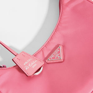 PRADA Hobo Bag in Pink Nylon Close Up