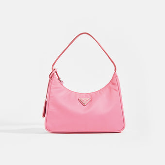 PRADA Hobo Bag in Pink Nylon Front View