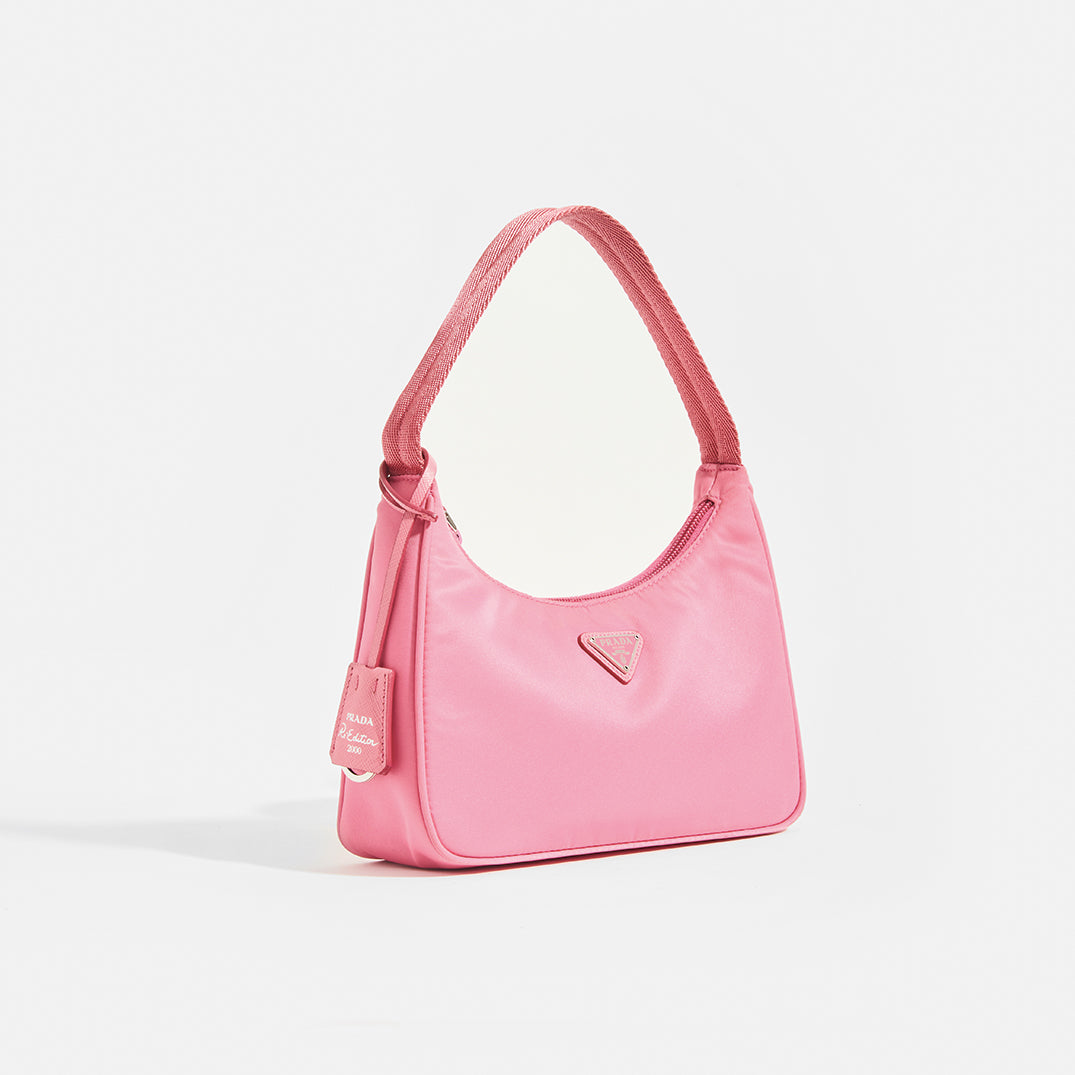 PRADA Hobo Bag in Pink Nylon Side View