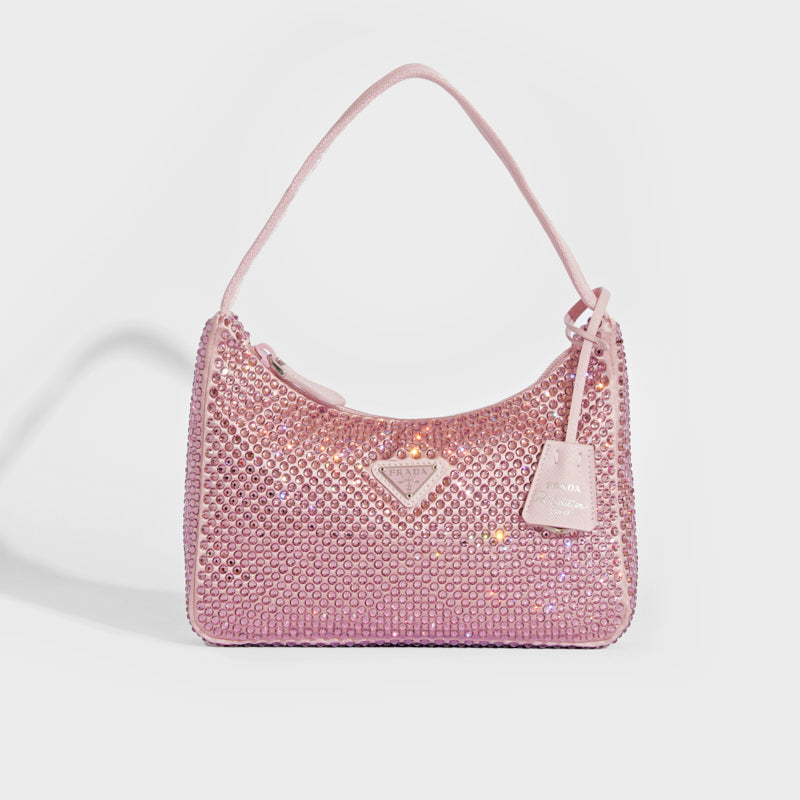PRADA Hobo Re-Edition 2000 Nylon with Crystals in Pink