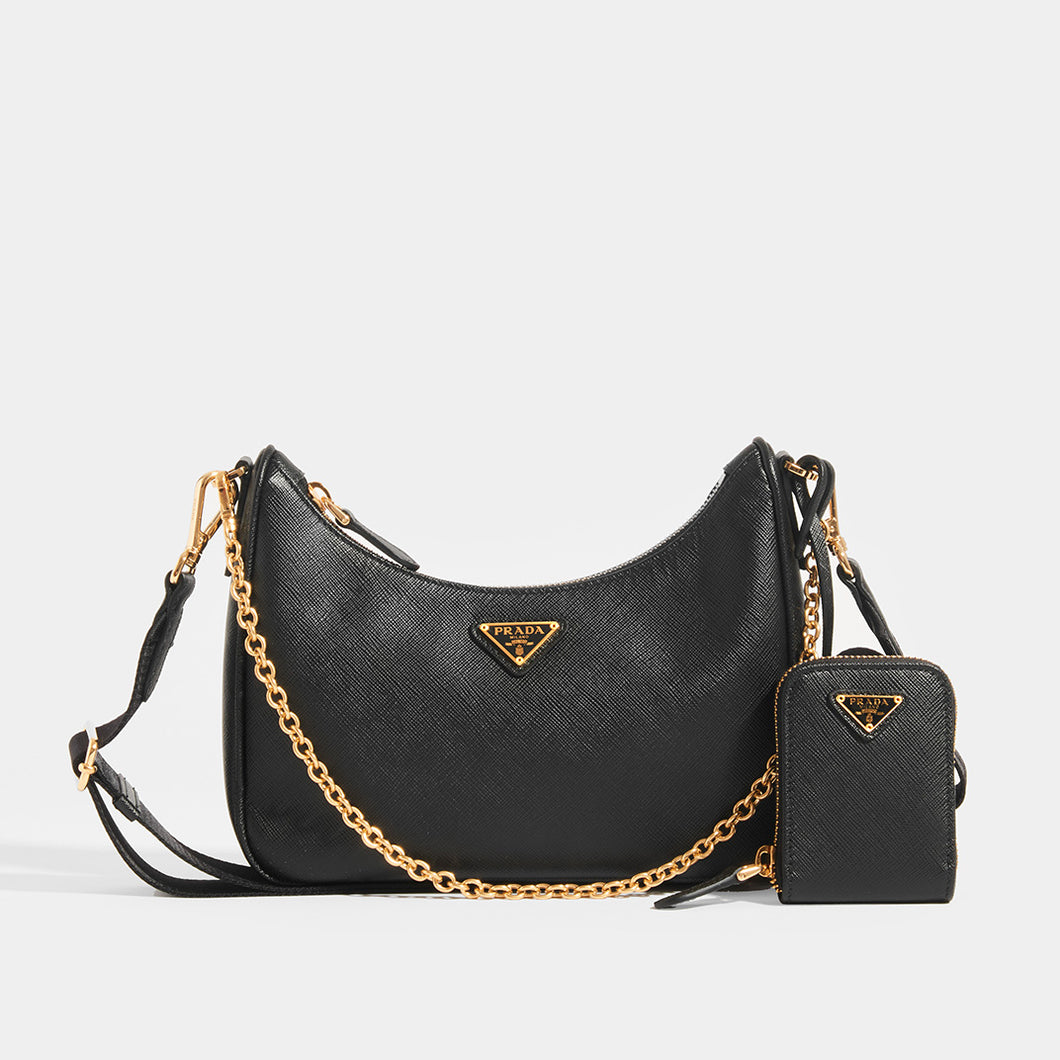 PRADA Hobo re-edition crossbody 2005 saffiano in Black Front
