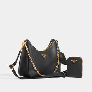 PRADA Hobo re-edition crossbody 2005 saffiano in Black Side