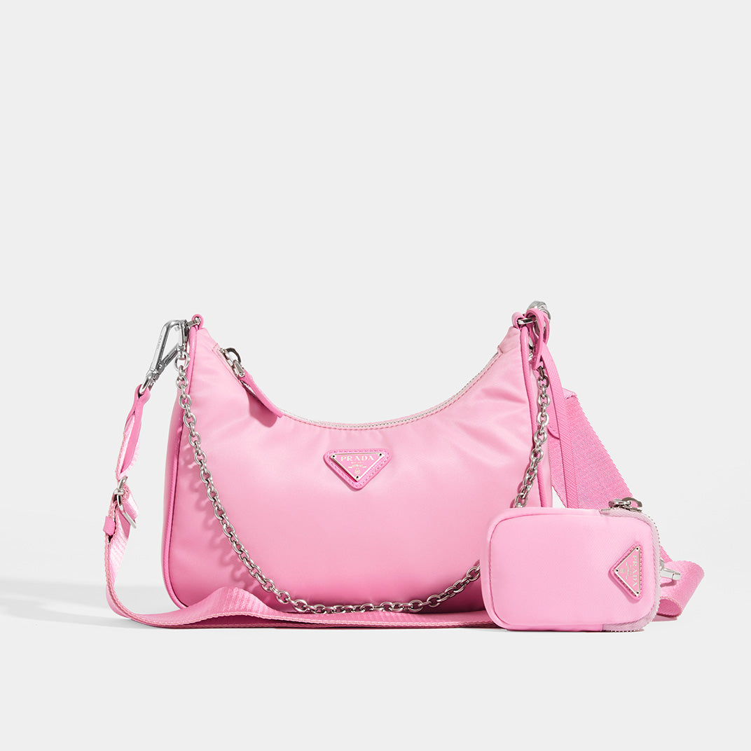 PRADA Hobo re-edition crossbody 2005 nylon in Primula (pink) Front with shoulder strap, cross body strap and mini pouch