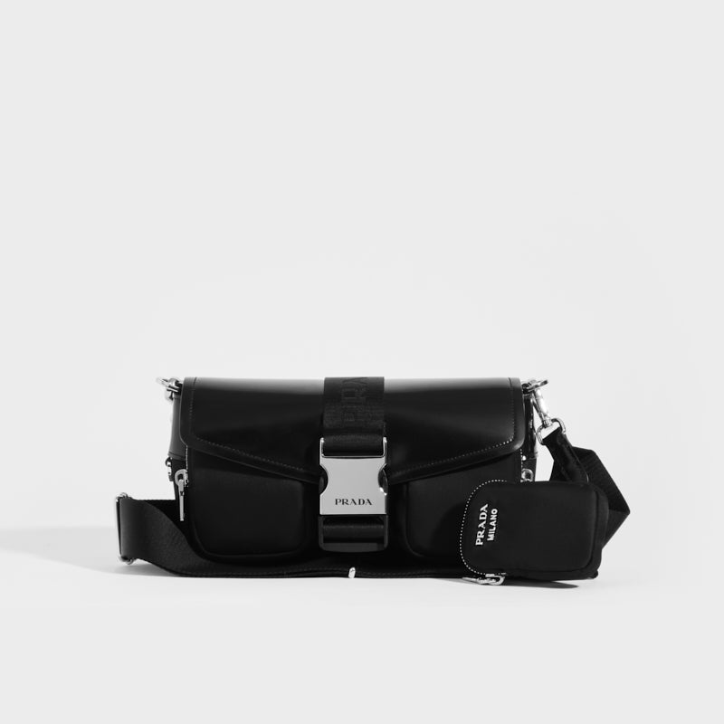 PRADA Pocket Nylon and Brushed Leather Bag in Black