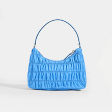Load image into Gallery viewer, PRADA Ruched Hobo Bag in Blue Nylon - Rear View