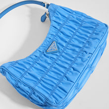 Load image into Gallery viewer, PRADA Ruched Hobo Bag in Blue Nylon - Close Up