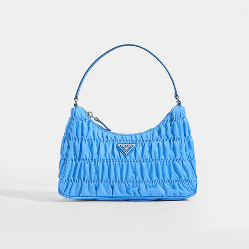 PRADA Ruched Hobo Bag in Blue Nylon - Front View