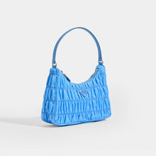 Load image into Gallery viewer, PRADA Ruched Hobo Bag in Blue Nylon - Side View