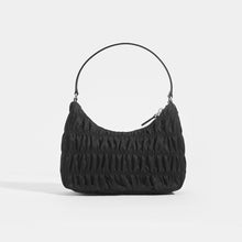 Load image into Gallery viewer, PRADA Ruched Hobo Bag in Black Nylon Back View