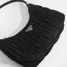 Load image into Gallery viewer, PRADA Ruched Hobo Bag in Black Nylon Close Up